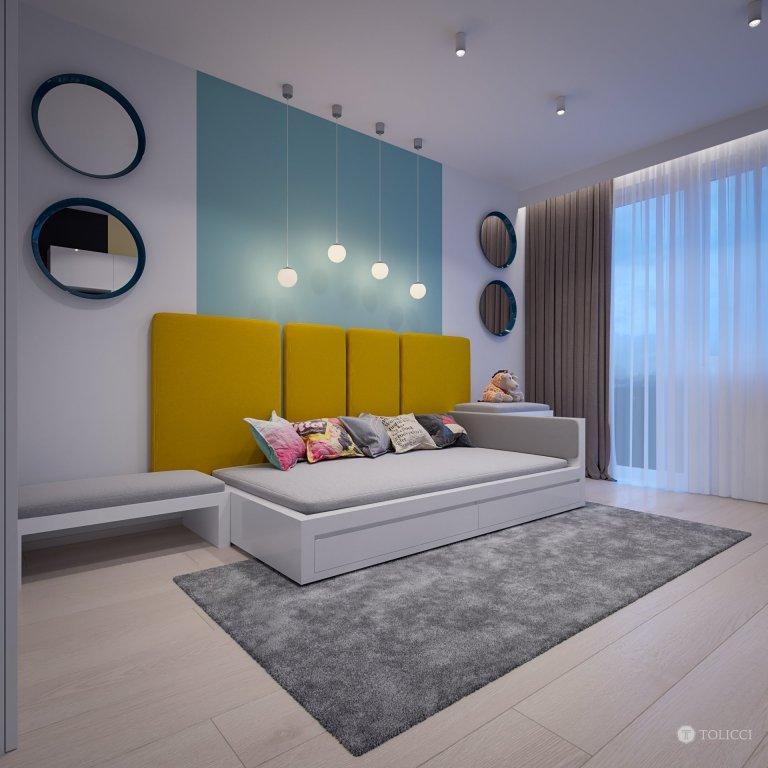 Navrhnutý interiér odráža predstavu klienta o vytvorení čistého, elegantného a svetlého interiéru s doplnkovou žltou farbou, moderného prístupu k osvetleniu…