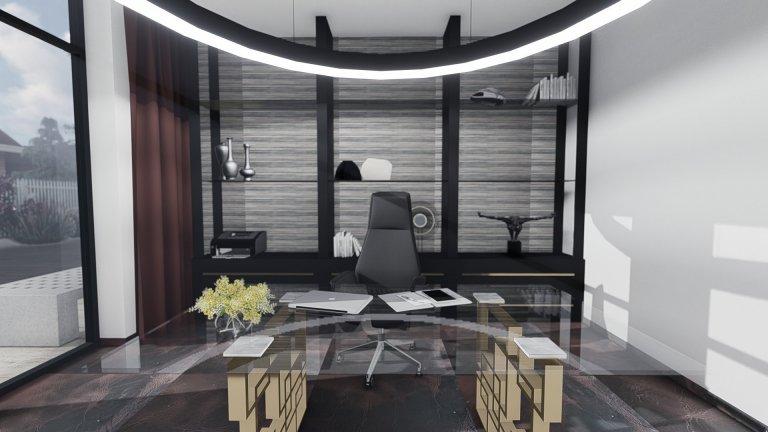 V návrhu interiéru pracovny bylo jediné omezení - tím byla podlaha a k té barevně ladící závěsy. Tedy jsme k utlumení barev vycházeli již z neutrálních odstínů…