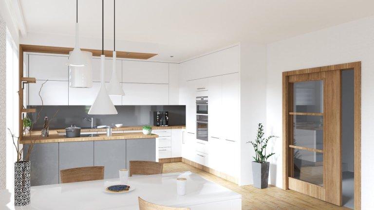 Vizualizace kuchyně s obývacím pokojem do novostavby