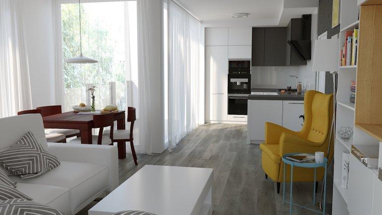 Vizualizace obývacího pokoje s kychyňským koutem