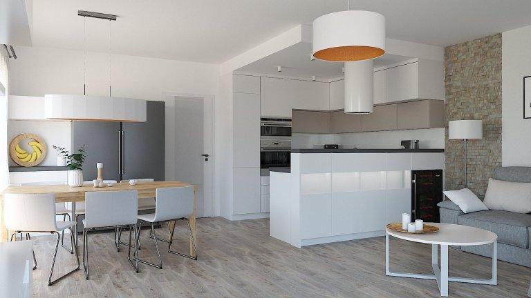 Kuchyně, jídelna a obývací pokoj v jednom