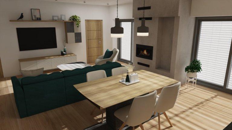Jídelní a obývací část místnosti