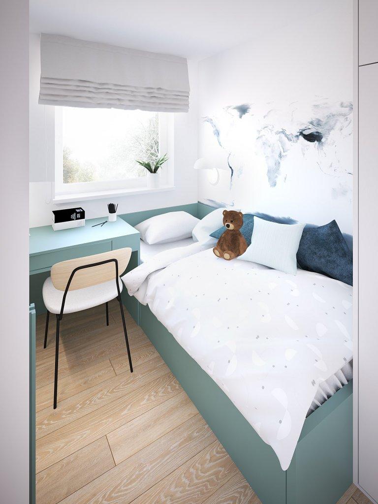Hlavní dispoziční úpravou v bytě pro čtyřčlennou rodinu bylo zrušení příček v přední části bytu. Z dlouhé chodby a dvou malých pokojů tak vznikl jeden velký…